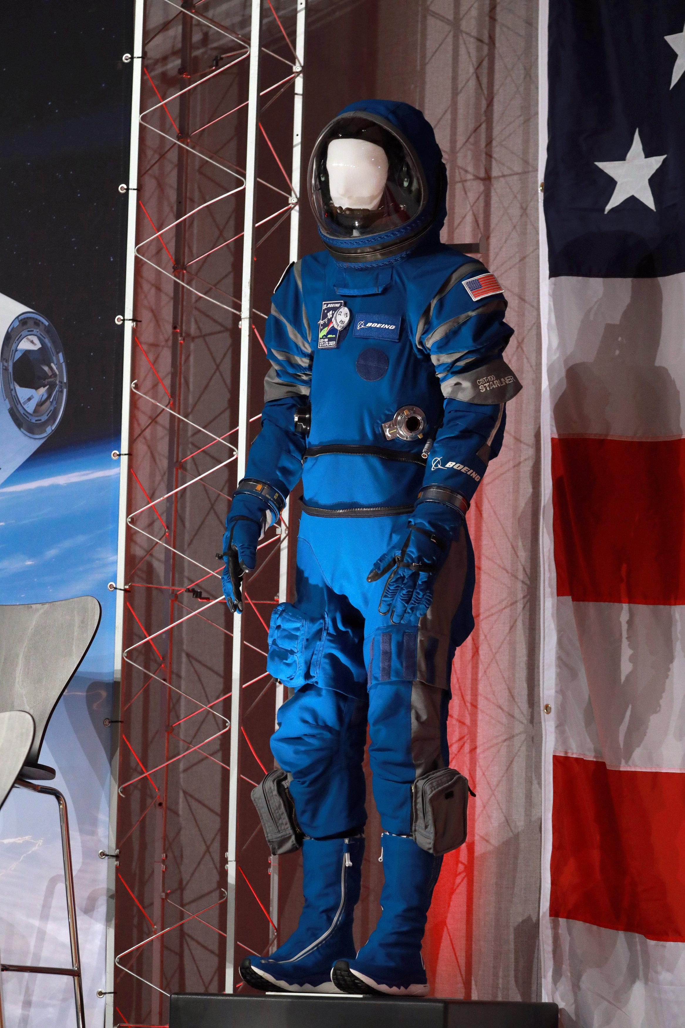 New Boeing spacesuit displayed as NASA announces crew assignments for Boeing CST-100 Starliner and SpaceX Crew Dragon in Houston