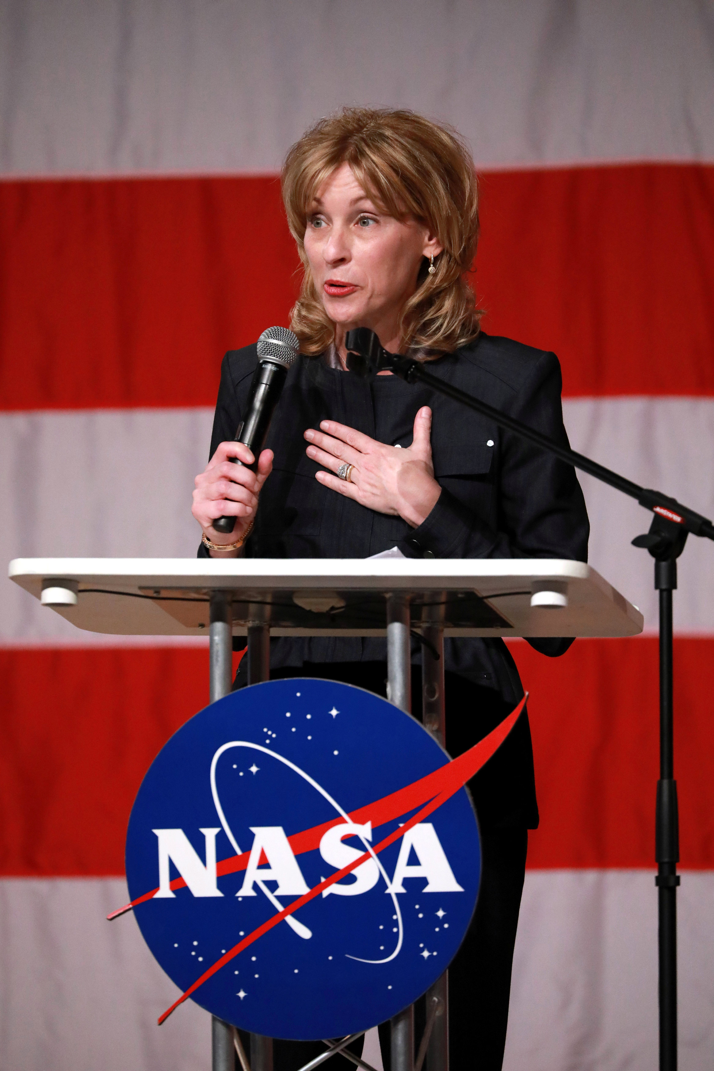 Boeing executive VP Leanne Caret speaks as NASA announces the crew assignments for Boeing CST-100 Starliner and SpaceX Crew Dragon in Houston