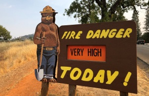 A sign by the side of the road warns of the threat of wildfires which have been fueled by continued hot weather outside the town of Colfax, California