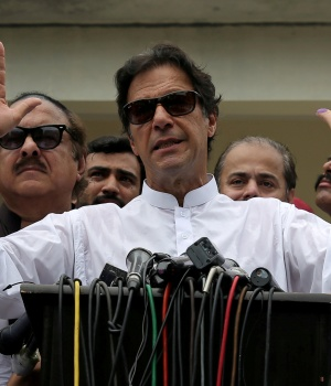 Cricket star-turned-politician Imran Khan, chairman of Pakistan Tehreek-e-Insaf (PTI), speaks after voting in the general election in Islamabad