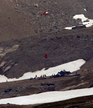A general view of the accident site of a Junkers Ju-52 airplane near Flims