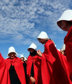 """Activists dressed up as characters from """"The Handmaid's Tale"""" take part in a demonstration in favour of legalising abortion in Buenos Aires"""