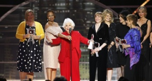 Actress Charlotte Rae (C) speaks during the 2011 TV Land Awards in New York