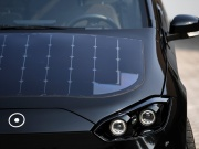 "Solar cell panels are seen on the hood of German solar car company Sono Motors' prototype car ""Sion"" in Munich"