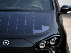 """Solar cell panels are seen on the hood of German solar car company Sono Motors' prototype car """"Sion"""" in Munich"""
