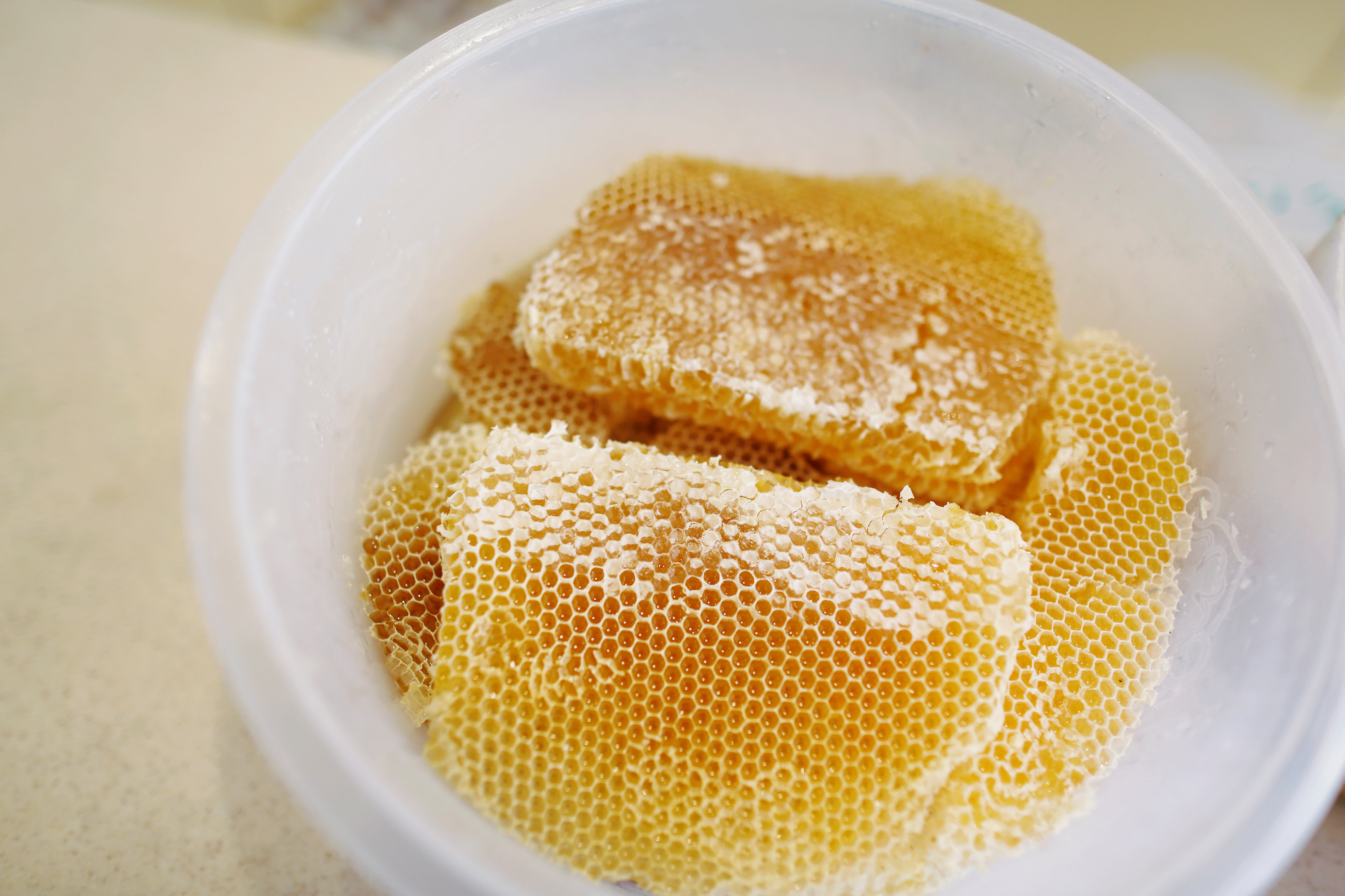 Honeycomb filled with honey is displayed at a honey shop in Sanaa