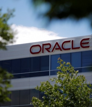 A sign marks a building housing Oracle offices in Burlington