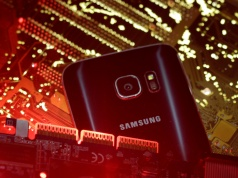 Samsung S7 is seen on a PC motherboard in this photo illustration taken in Sarajevo