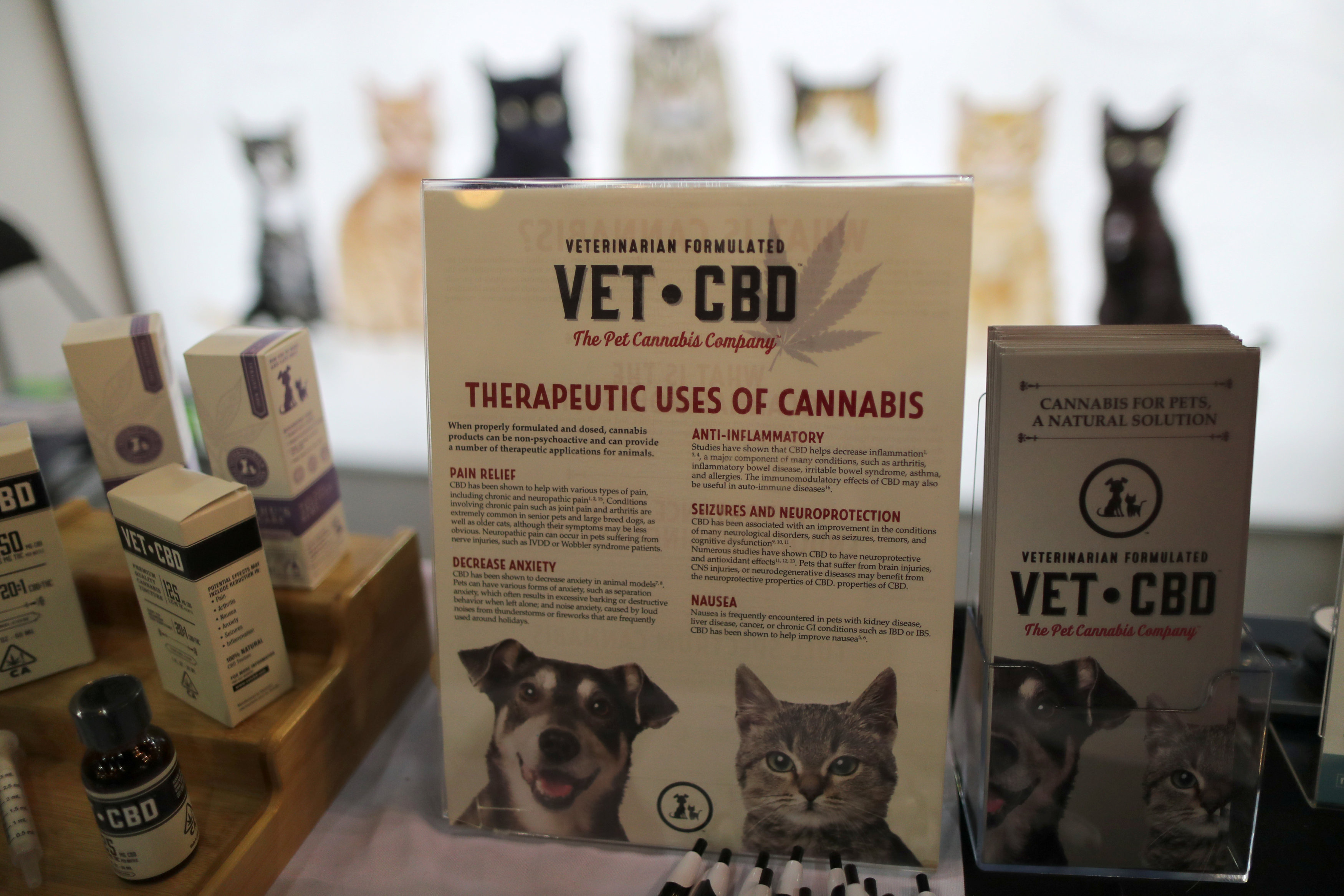 The Vet CBD Pet Cannabis Company booth is seen at CatCon in Pasadena