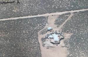 Handout photo of an aerial view of a compound in rural New Mexico where 11 children were taken into protective custody for their own health and safety after a raid by authorities, is shown in this photo near Amalia, New Mexico