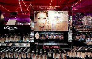A cosmetic display of French cosmetics group L'Oreal is seen at a Carrefour hypermarket in Nice