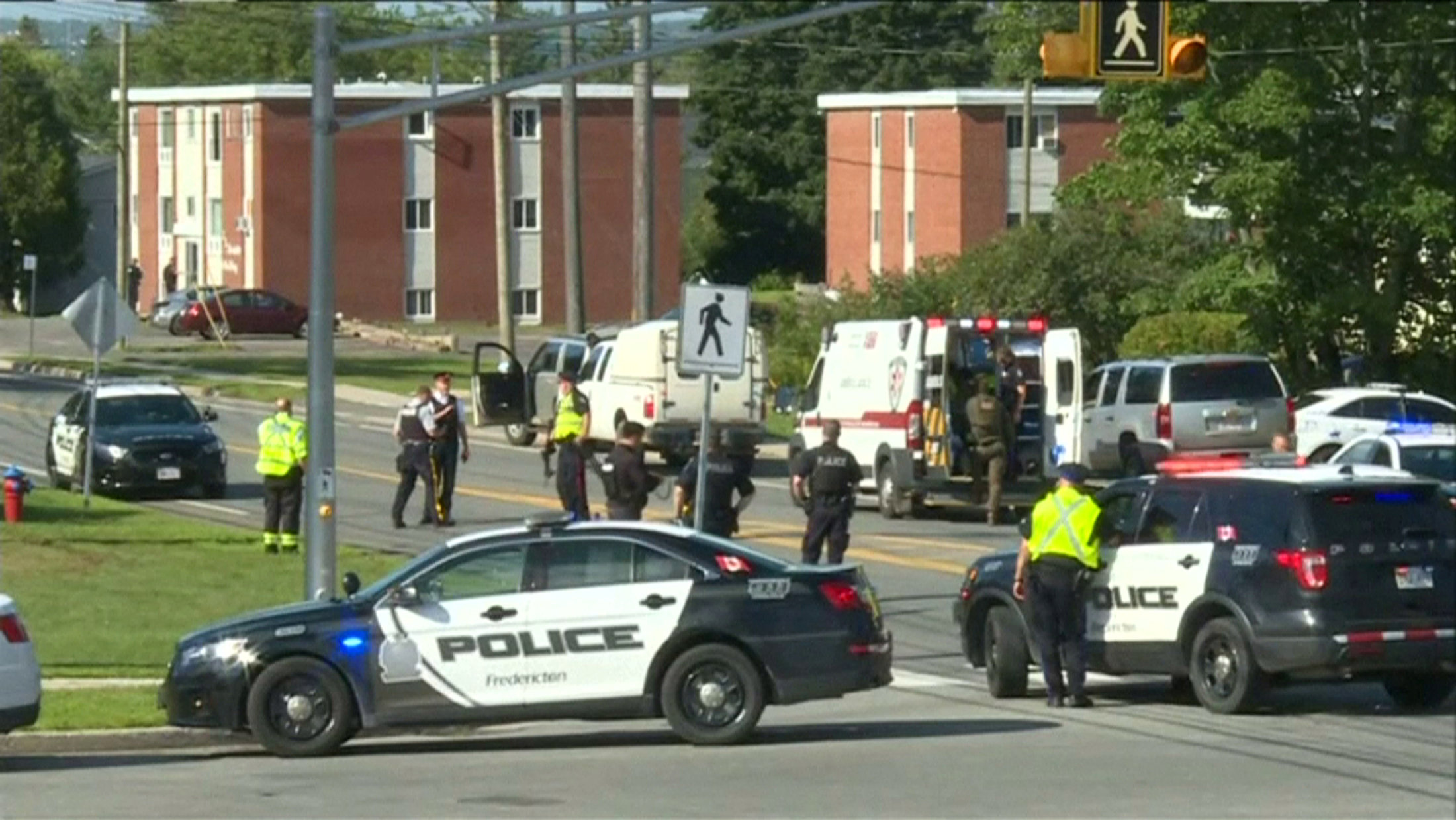 A still image taken from video of the scene of a fatal shooting in Fredricton, New Brunswick
