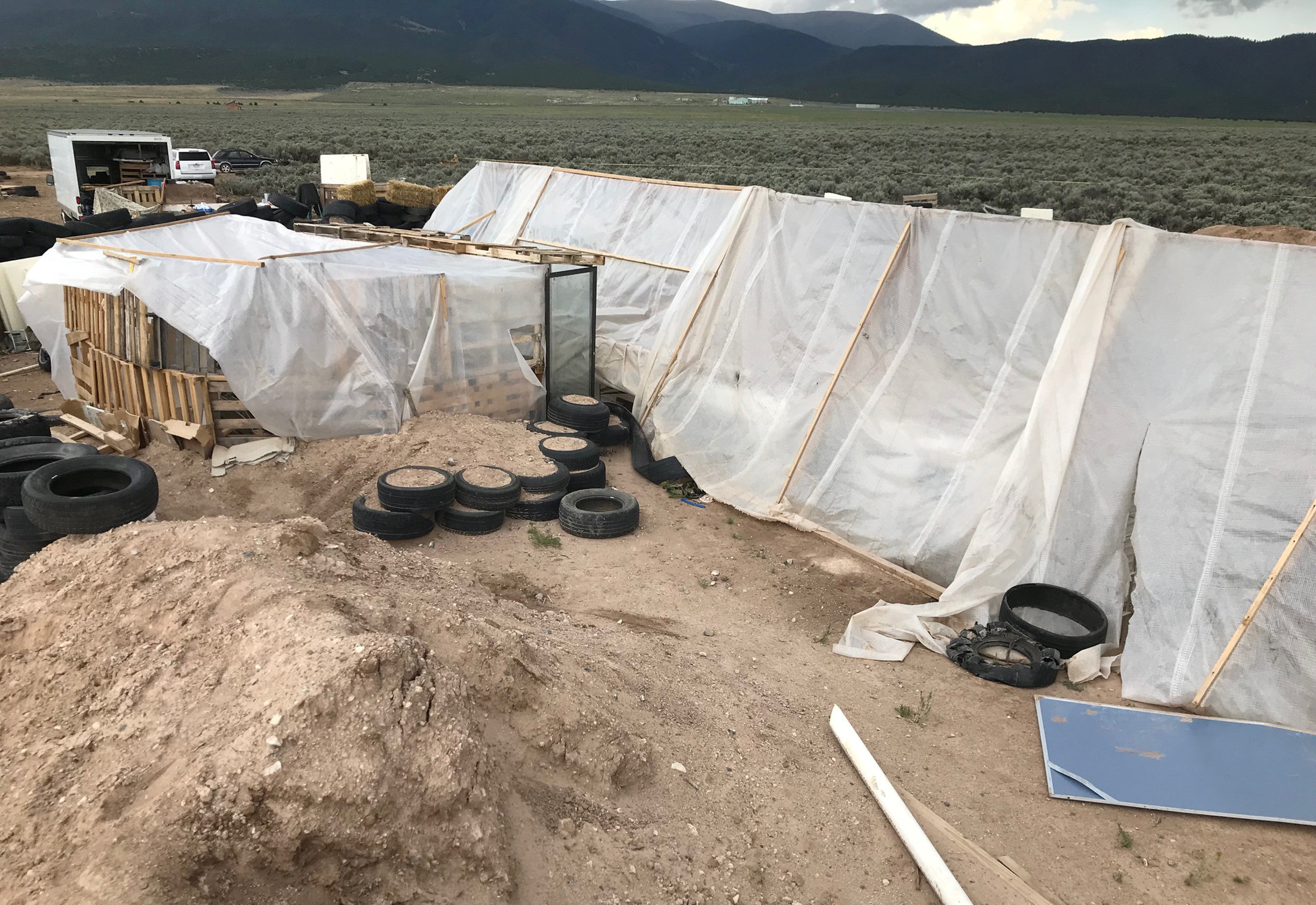 A view of the compound in rural New Mexico where 11 children were taken in protective custody after a raid by authorities near Amalia, New Mexico