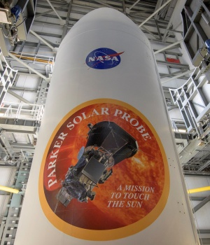 The United Launch Alliance Delta IV Heavy rocket payload fairing is seen with the NASA and Parker Solar Probe emblems at Launch Complex 37 Cape Canaveral Air Force Station