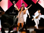 Lebanese pop singer Elissa gestures as she performs at Beirut waterfront