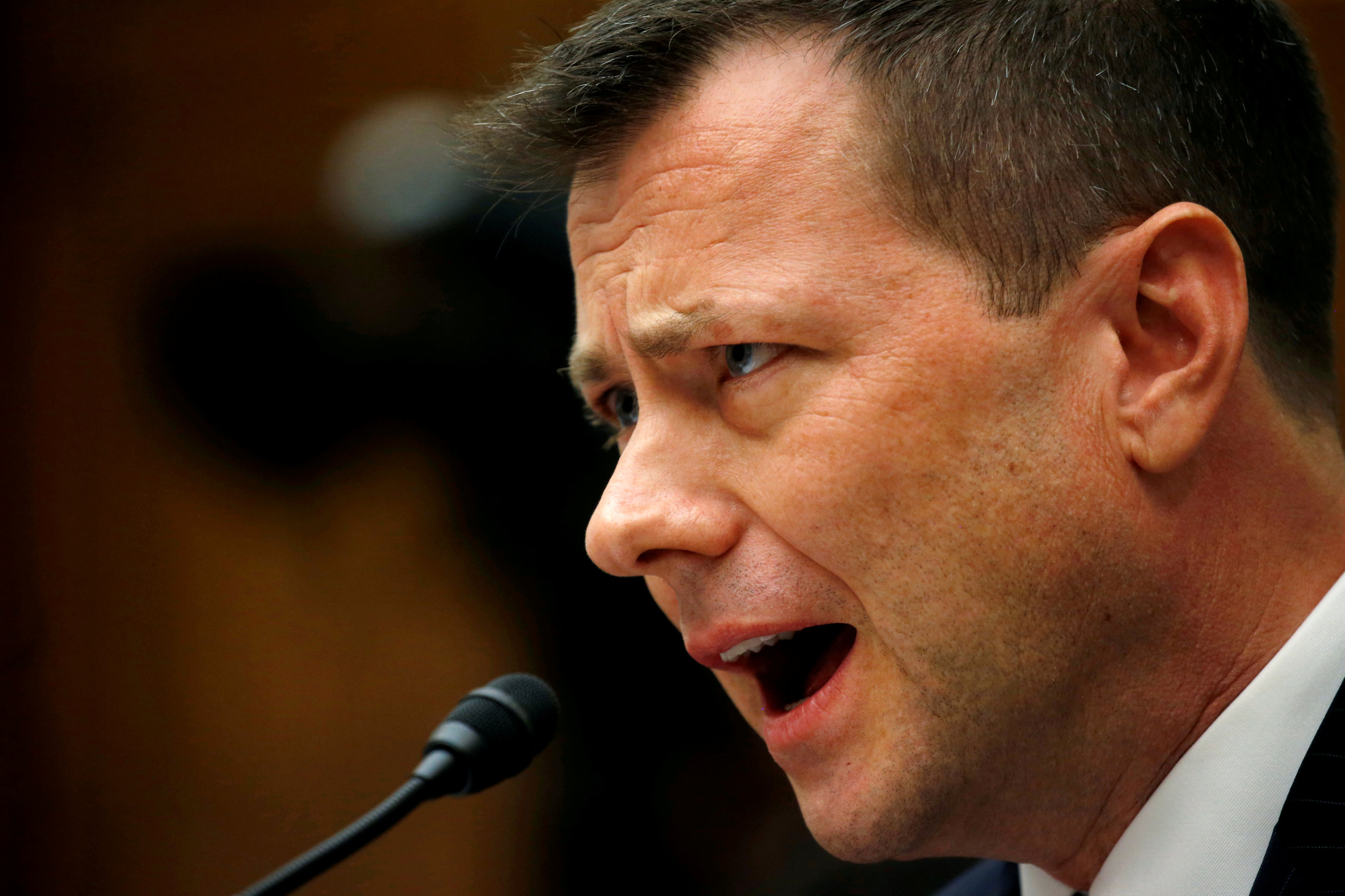 "FBI Deputy Assistant Director Strzok testifies before a joint hearing on ""Oversight of FBI and DOJ Actions Surrounding the 2016 Election"" on Capitol Hill in Washington"