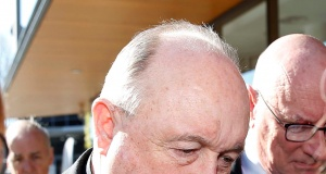 Former Australian archbishop Philip Wilson arrives at Newcastle Local Court for a post-sentence decision where he was ordered to serve his one-year sentence at home, in Newcastle