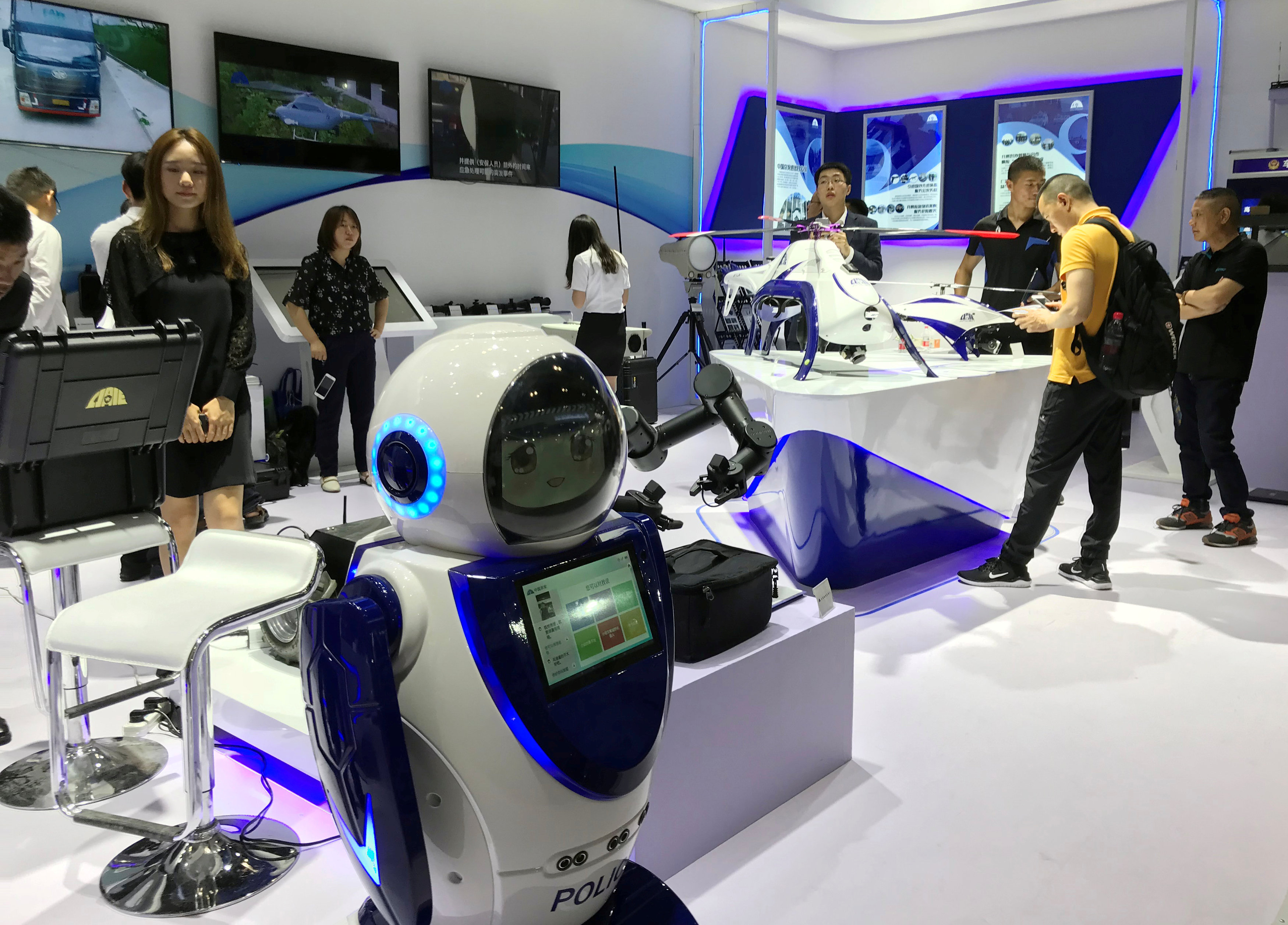 Police robot that can scan faces is seen on display at the China International Exhibition on Police Equipment in Beijing