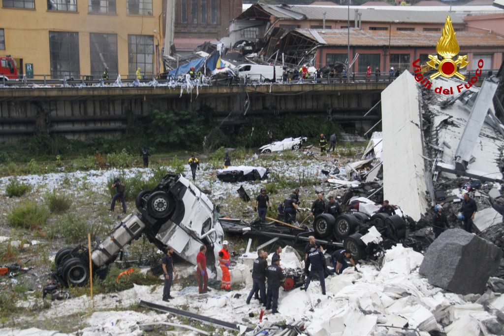 The collapsed Morandi Bridge is seen in the Italian port city of Genoa in this picture released by Italian firefighters