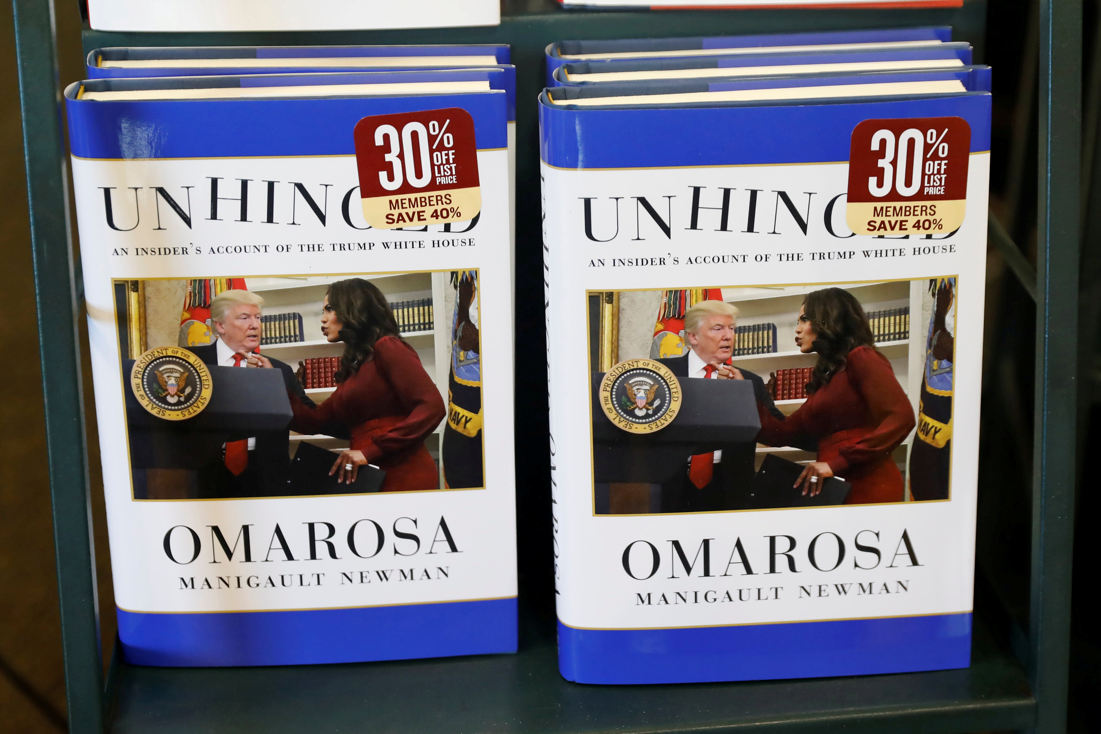 "The book ""Unhinged"" by former White House staffer Omarosa Manigault Newman on her time in the White House administration is seen for sale in Manhattan"