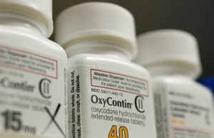 Bottles of prescription painkiller OxyContin made by Purdue Pharma LP sit on a shelf at a local pharmacy in Provo