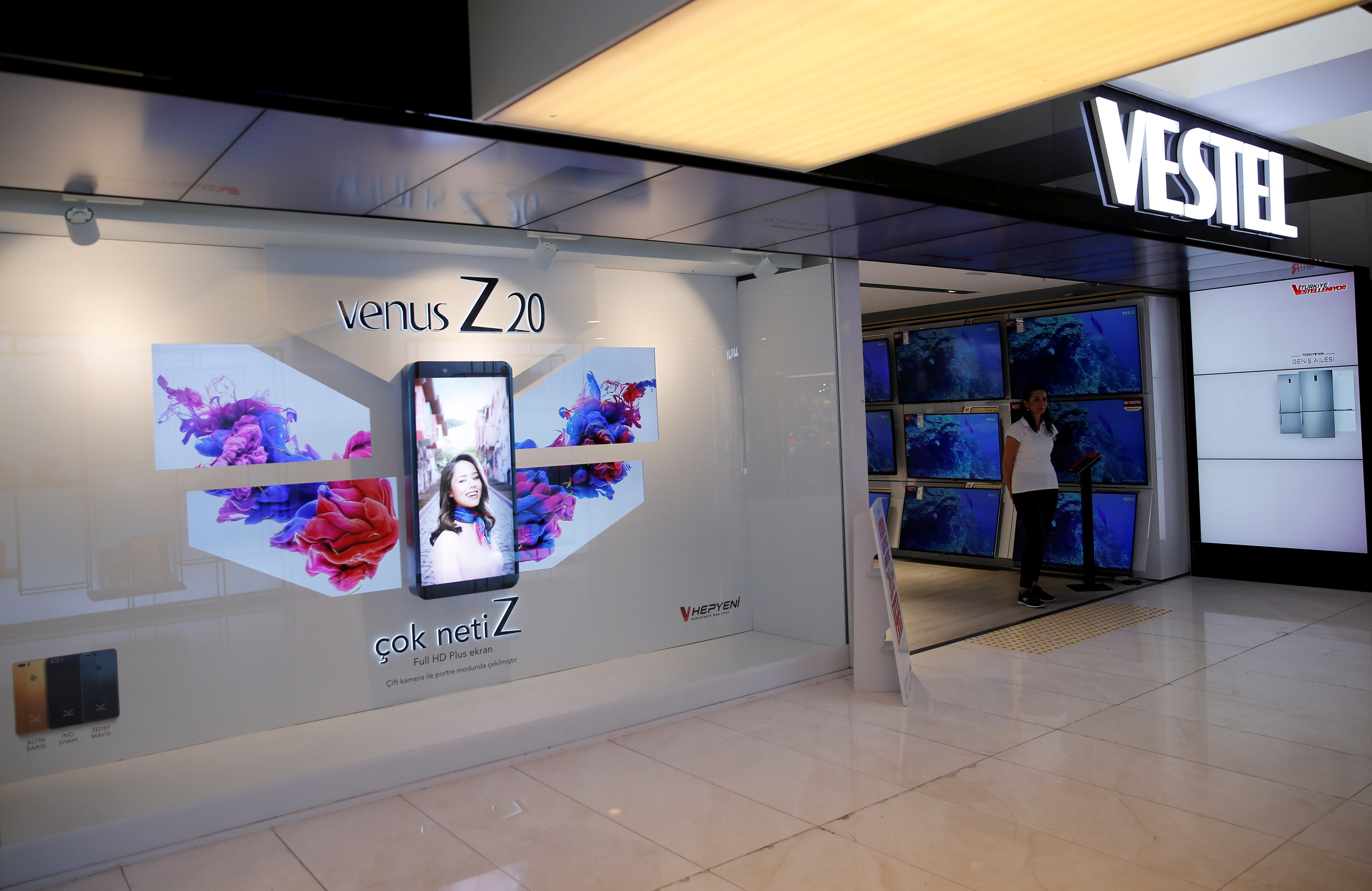 An advertisement for Venus Z20 mobile phone is seen at a Vestel store in Istanbul
