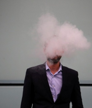 A man vapes outside Southwark Crown Court in London