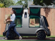 Handout photo of Nuros R1 driverless delivery van is seen packed with bags from KrogerÕs FryÕs Food Stores, which will begin a test of the vehicle in Scottsdale