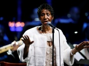 Aretha Franklin performs during the commemoration of the Elton John AIDS Foundation 25th year fall gala at the Cathedral of St. John the Divine in New York City