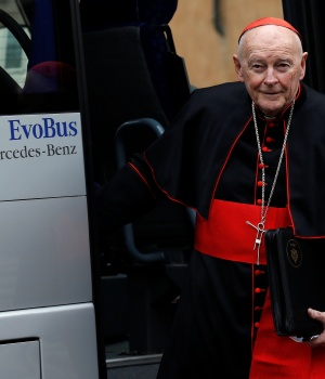 Cardinal McCarrick from U.S. arrives for a meeting at the Synod Hall in the Vatican