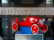 The entrance of toll-road operator Autostrade per l'Italia's headquarters is seen in Rome