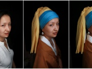 "Combination picture shows makeup artist He Yuhong posing without her makeup and garments, and without her makeup following her transformation into the ""Girl with a Pearl Earring"" at her house in Chongqing"