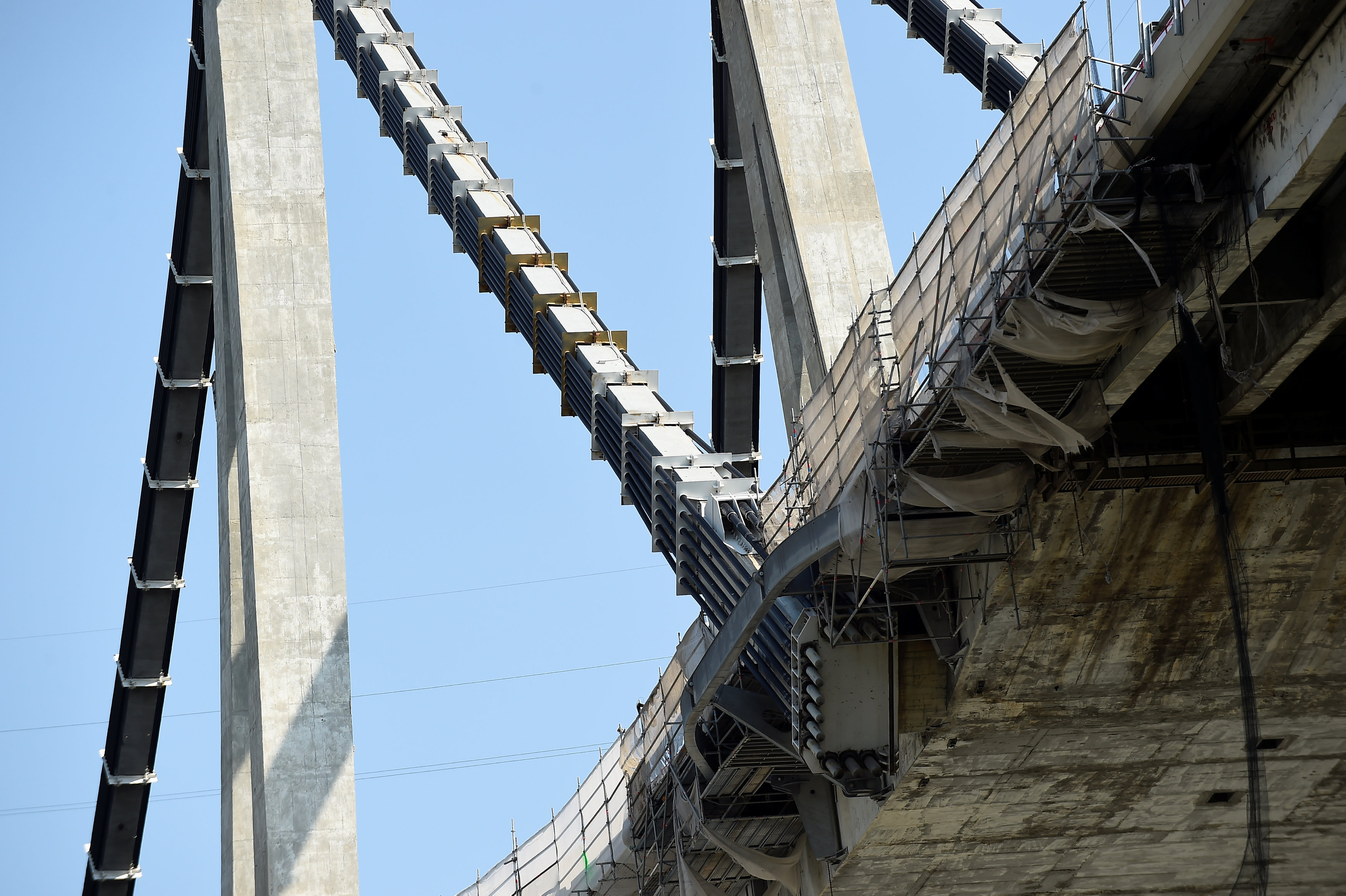 View of the renovation work on the collapsed Morandi Bridge in Genoa