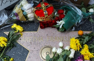 A crown and flowers were placed on Aretha Franklin's star on Hollywood Boulevard in Los Angeles, California,