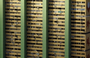 Air-conditioning units dot the facade of the People's Park Complex residential apartment in Singapore's Chinatown