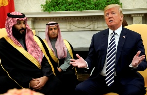 U.S. President Donald Trump welcomes Saudi Arabia's Crown Prince Mohammed bin Salman in the Oval Office at the White House in Washington