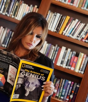 Actor Gina Gershon plays Melania Trump in a preview for the off-Broadway show 'Trump Family Special' in New York City