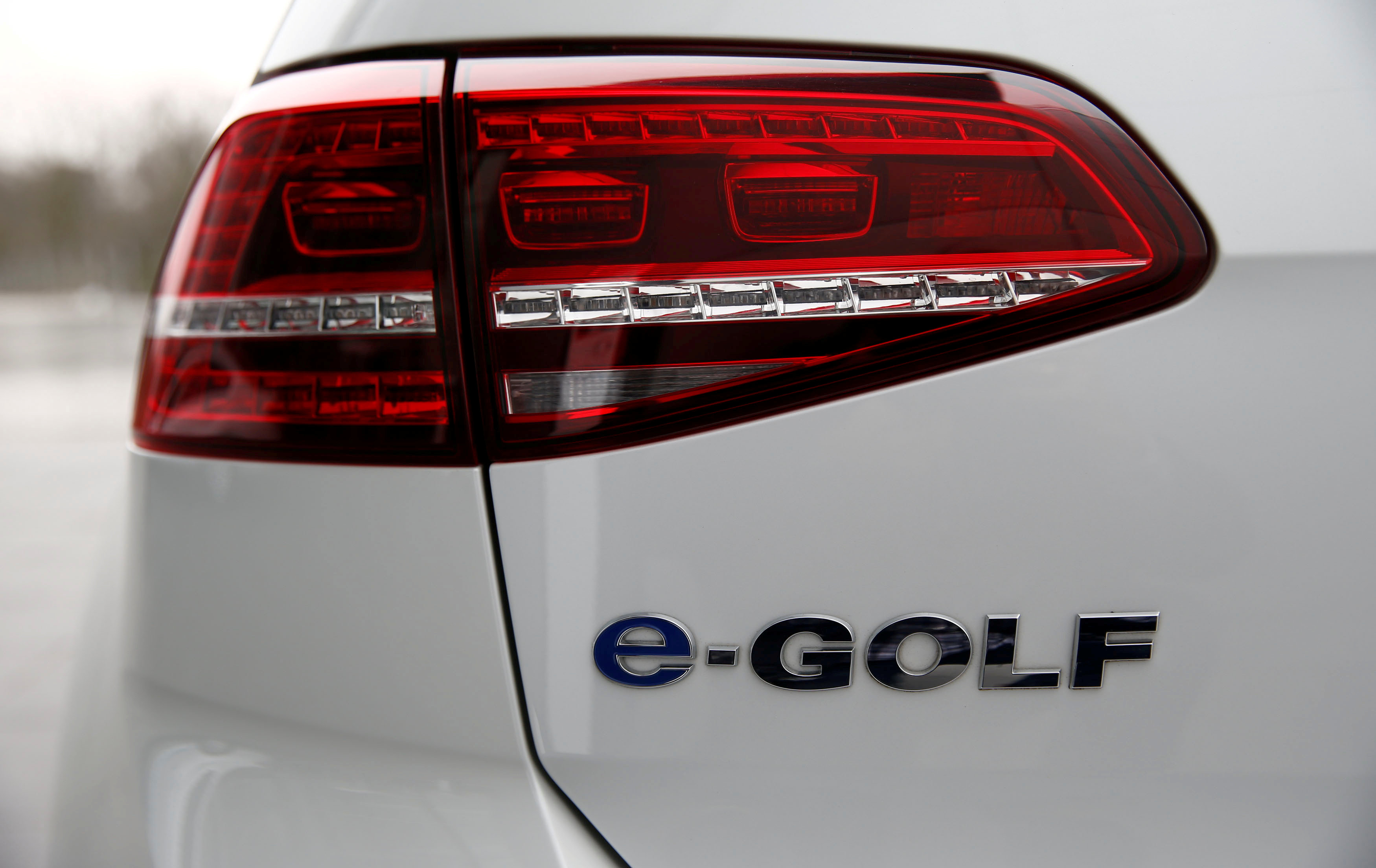 Backlight of a VW e-Golf electric car is pictured at the Transparent Factory in Dresden