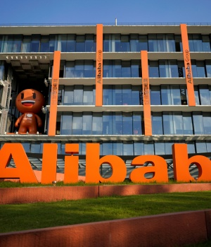 The logo of Alibaba Group is seen at the company's headquarters in Hangzhou
