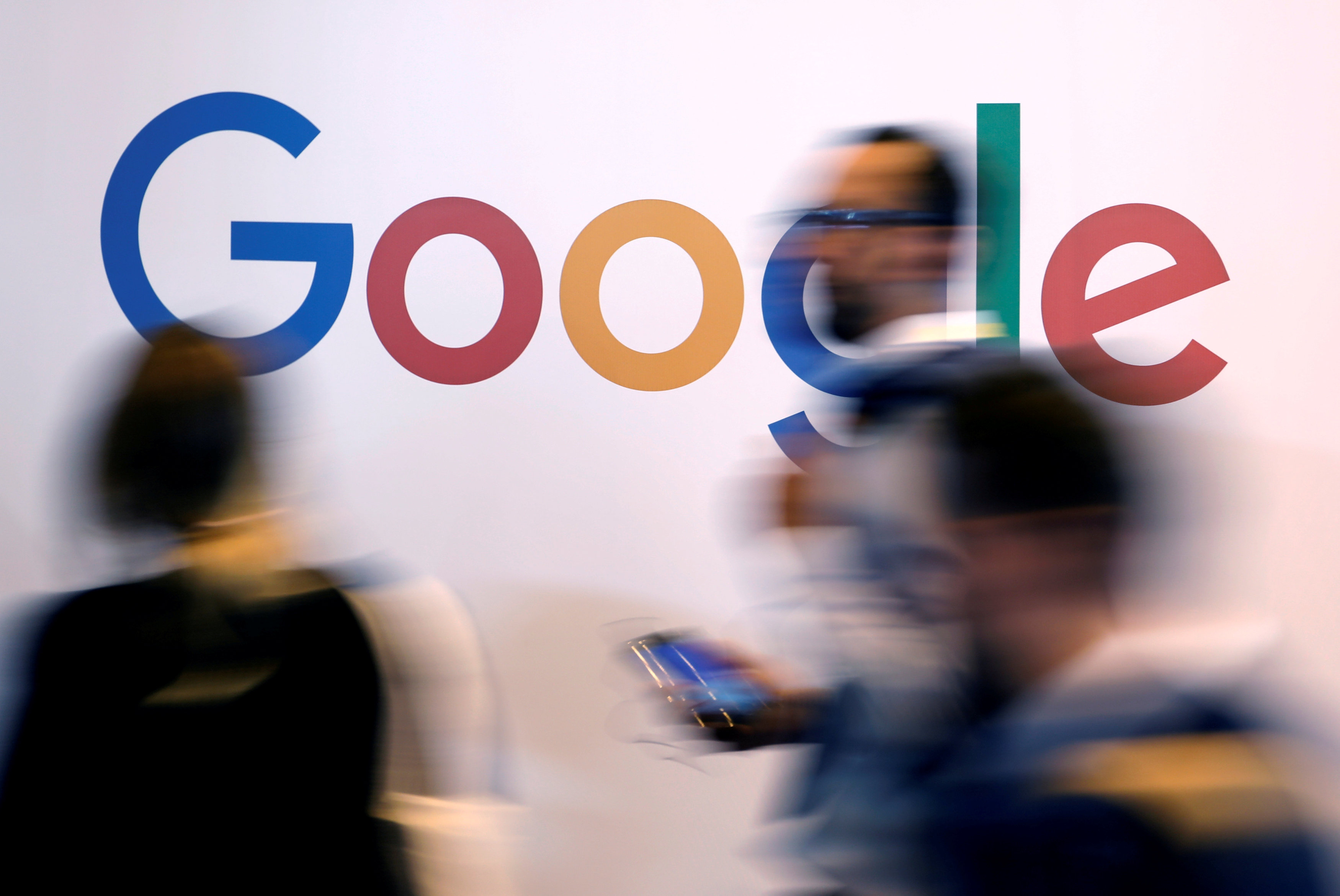 The logo of Google is pictured during the Viva Tech start-up and technology summit in Paris, France
