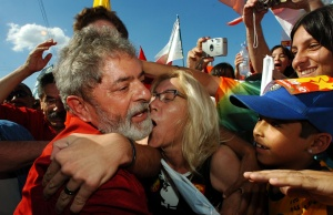 Brazilian President Luiz Inacio Lula da Silva is mobbed by supporters while on a visit as part of his campaign for re-election in Porto Alegre