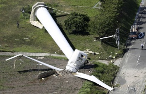 Wind turbine which was knocked down as Typhoon Cimaron passed through western Japan is pictured in Awaji