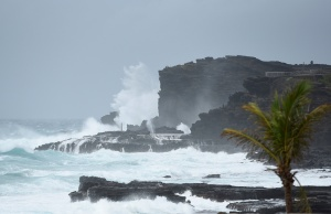 Large waves crash against the shoreline on the east side of Oahu as Hurricane Lane approaches Honolulu.