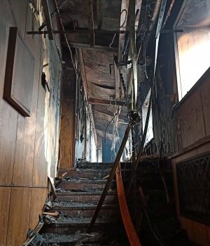 Interior of a hot springs hotel which caught fire early in the morning is pictured in Harbin