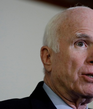 Sen. John McCain (R-AZ) speaks at a press conference about the National Defense Authorization Act in Washington