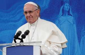 Pope Francis leads the Angelus at the Knock Shrine in Knock