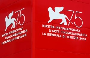 The logo of the 75th Venice Film Festival is seen in Venice