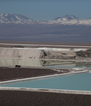 A view of brine pools of a lithium mine on the Atacama Salt Flat in the Atacama Desert