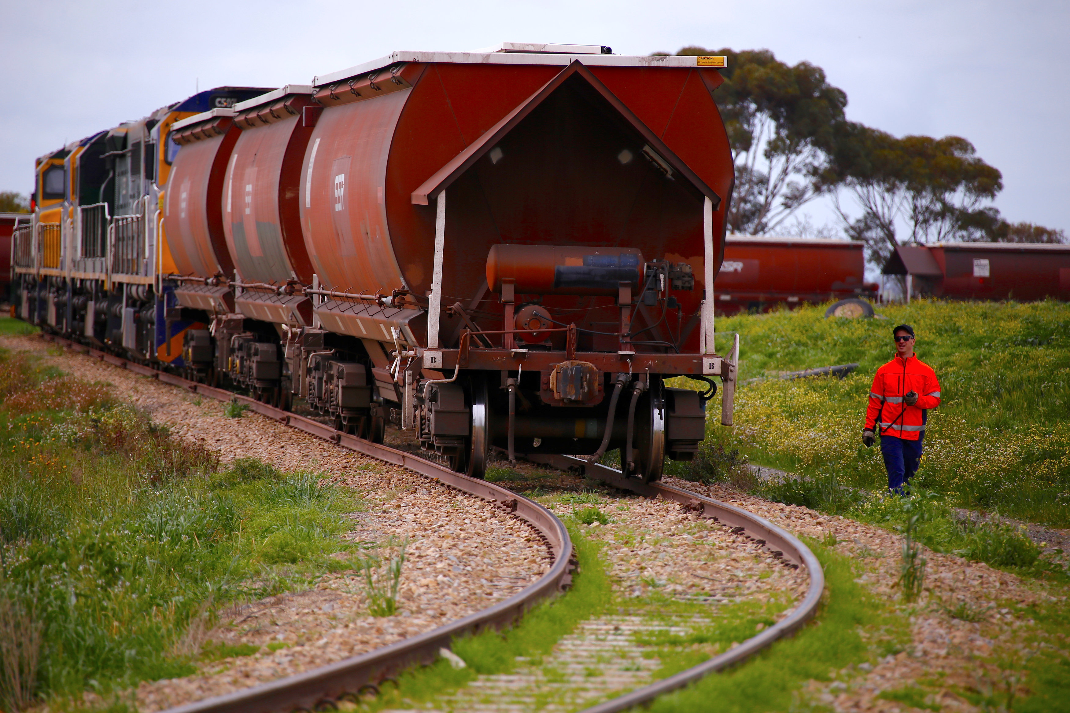 Train driver Nathan Jackson checks carriages as they are loaded with wheat at the town of Mallala, located north of Adelaide