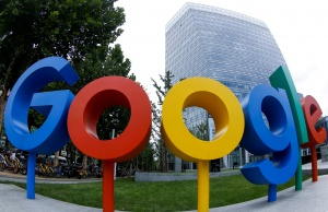 The logo of Alphabet Inc's Google outside its office in Beijing